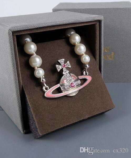 Europe and the United States pink Saturny pearl bracelet temperament INS net red