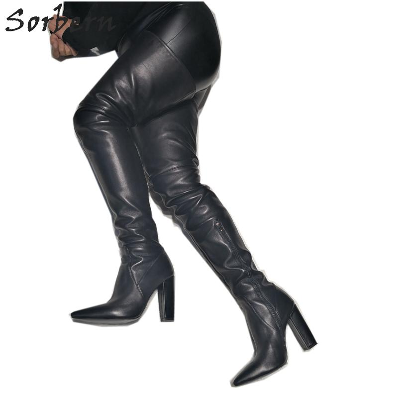 dc07a1c00d2 Black Block Heel Women Boots Over The Knee Mid Thigh High Ladies Booties  Chunky Heeled Custom Leg Size Pointed Toe 2019