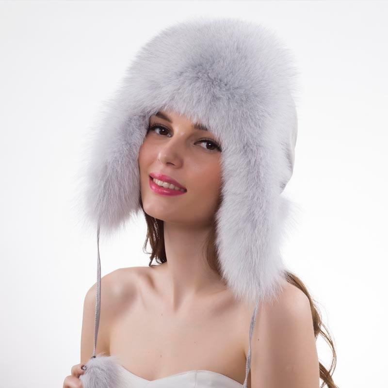 a64982f529f Real Fox Fur Bomber Caps Winter Genuine Real Fox Fur Bomber Hat ...