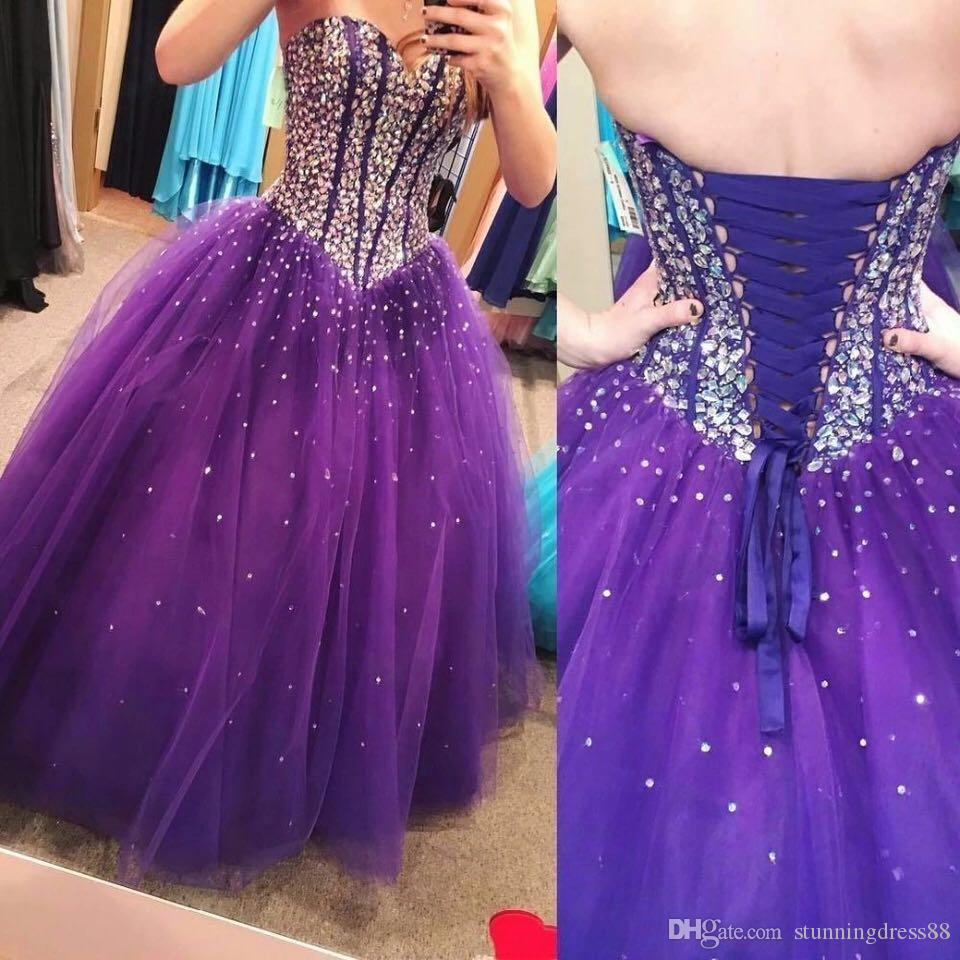 2019 Fashion Dark Purple Ball Gown Quinceanera Prom Dresses Sparkly Crystal Top Sweetheart Lace up Back Nuovo Cheap abito da sera masquerade
