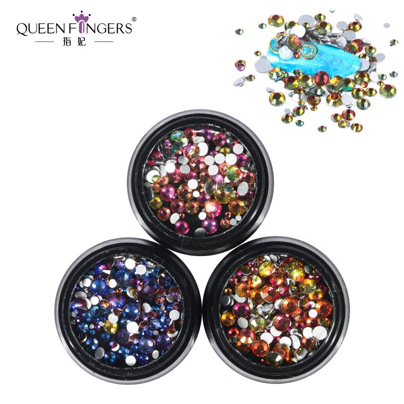 QUEEN FINGERS 144Pcs/Box Blue Green Flame Nail Crystal Rhinestones Mix  Sizes SS6/8/10/12/16/20 Nail Art Decoration Gem Stone
