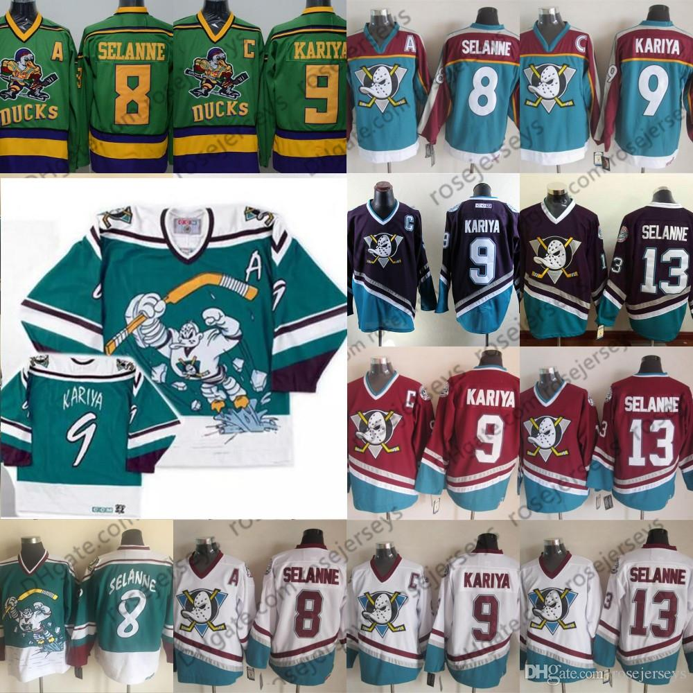 new product e21d9 adf67 Mighty Ducks of Anaheim Wild Wing 1995-1996 Vintage #8 Teemu Selanne #13 #9  Paul Kariya Green Retro Purple White Red Men s Hockey Jersey