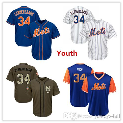 best sneakers a528d db48c Youth Kids Child New York Mets Baseball Jerseys 34 Noah Syndergaard Jersey  Blue White Green Salute Players Weekend