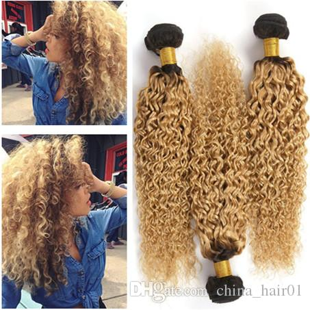 Dark Root 1B/27 Honey Blonde Ombre Peruvian Virgin Human Hair Wefts Extensions Kinky Curly Strawberry Blonde Ombre Weave Bundles 3Pcs