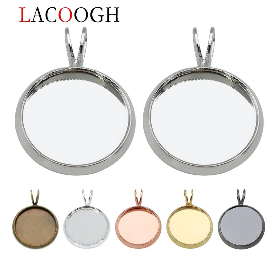 lacoogh 10pcs Copper Necklace Pendants Blank Base Fit 10 12 14 16 18 20 mm Photo Glass Cabochon Cameo Settings Jewelry Making