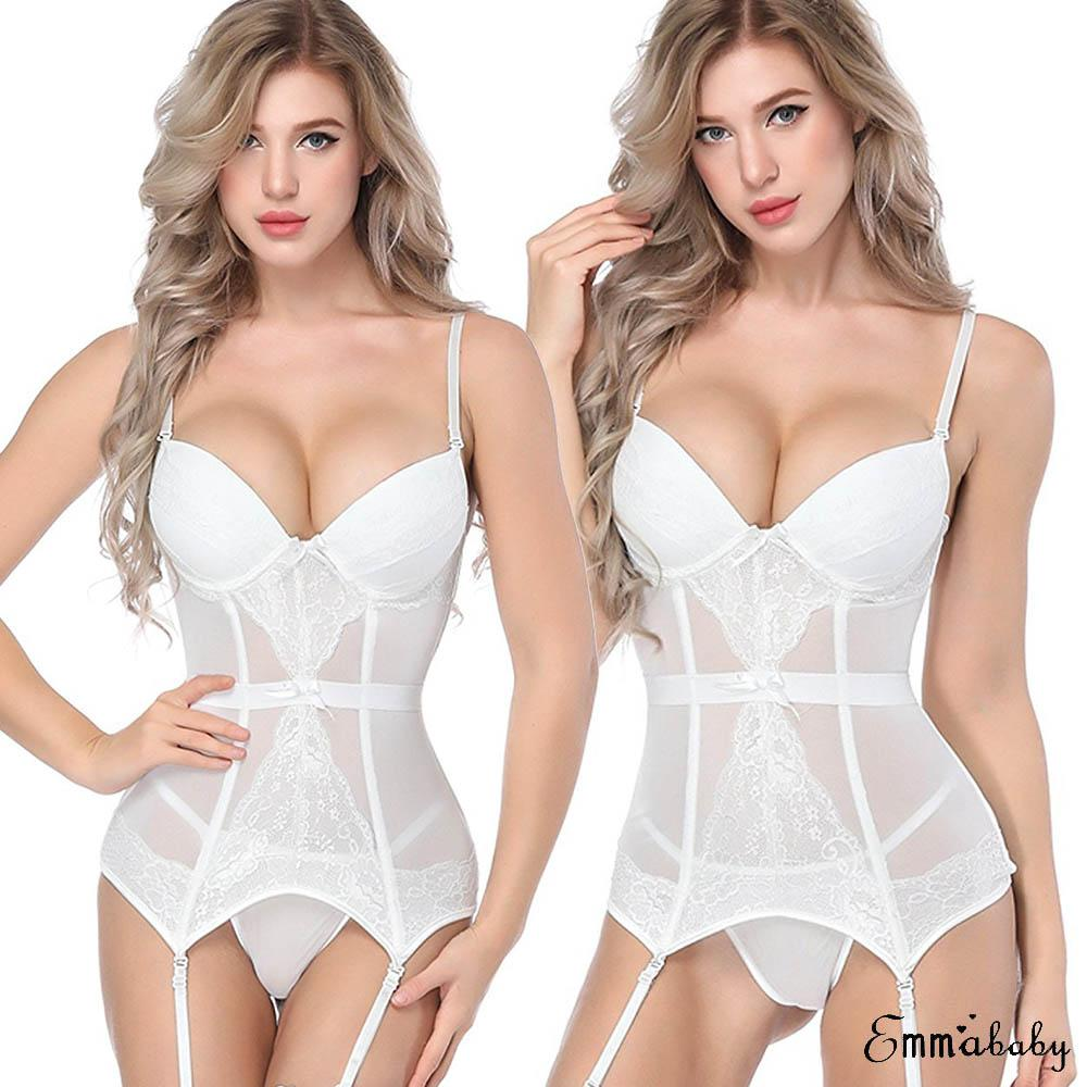 2019 White Lingerie Women Lace Sexy-Lingerie Nightwear Underwear G-string Babydoll Sleepwear Dress