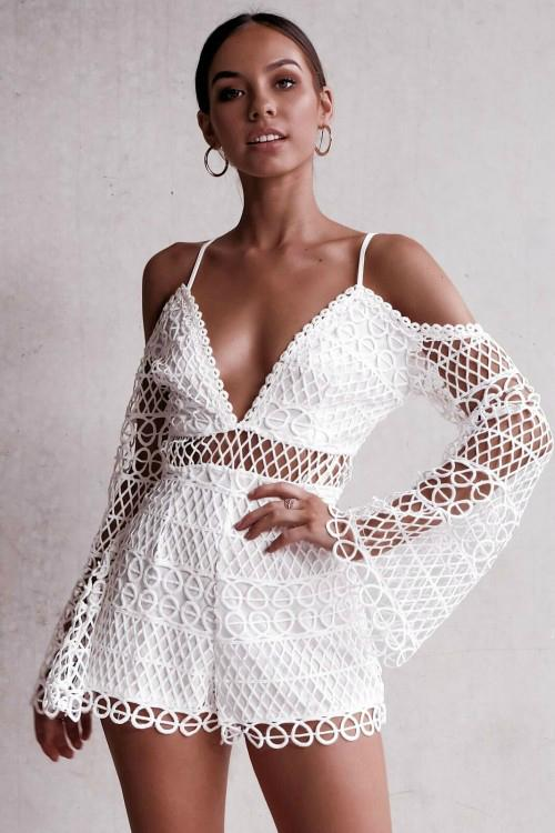 6600fbed402 2019 Sexy White Lace Playsuit Romper Women Deep V Neck Hollow Out Overalls  Summer 2019 Long Flare Sleeve White Playsuits Clubwear From Undervivi