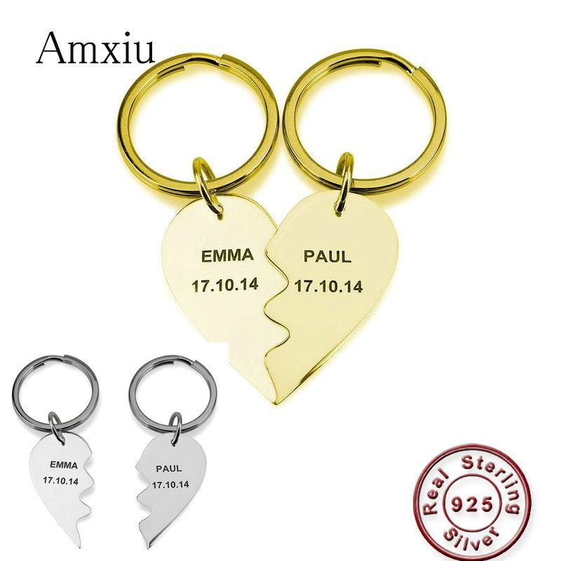 2019 Amxiu Custom One Pair 925 Silver Heart Keychains Engrave Name Date  Pendant Key Chains Lovers Women S Day Gifts Jewelry From Windring c6608476ec