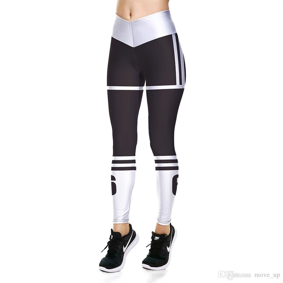 a55b5e57767 2019 JIGERJOGER V Shape High Rise Waistband Yoga Leggings Black And White  Stripes 3D Digital Printed Bottom Pants Free Drop Shipping #466013 From  Move_up, ...