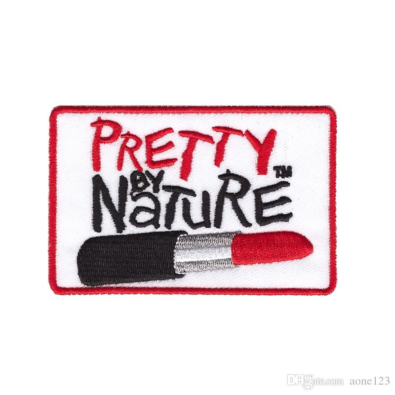 pretty by nature lipstick brand clothing trousers patch embroidery badge free shipping diy can be custom