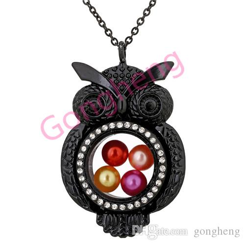 h1520 lovely Black owl Magnetic Glass Floating Locket Pearl Rhinestone pendant Women Charms Necklace