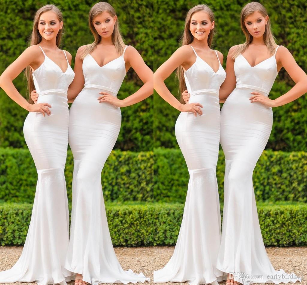 78744733ab 2019 Cheap Simple Mermaid Bridesmaid Dresses Spaghetti V Neck Long Maid Of  Honor Gowns Floor Length Wedding Guests Wear BM0607 Long Purple Bridesmaid  ...