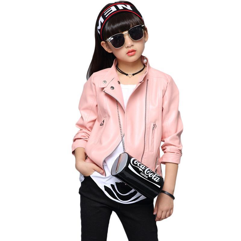 san francisco d8148 2028c Kinder Mädchen PU Jacke Niet Reißverschluss Coole Jacken Mode Leder Kinder  Kleidung Mäntel für Mädchen 4-12 Jahre Frühling Herbst Mantel