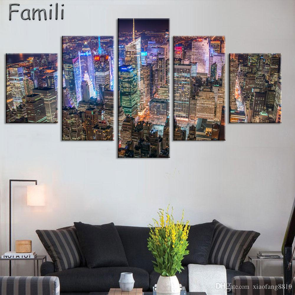 5pcs Pantings On The Wall Art Canvas Painting New York City Wall Pictures For Living Room Cuadros Decoration Home Decor No Frame
