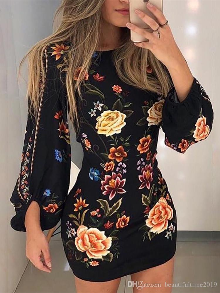 2019 new Elegant Fashion Women Slim Fit Leisure Casual Bodycon Mini Dress Female Cutout Back Bishop Sleeve Floral Dress free shipping