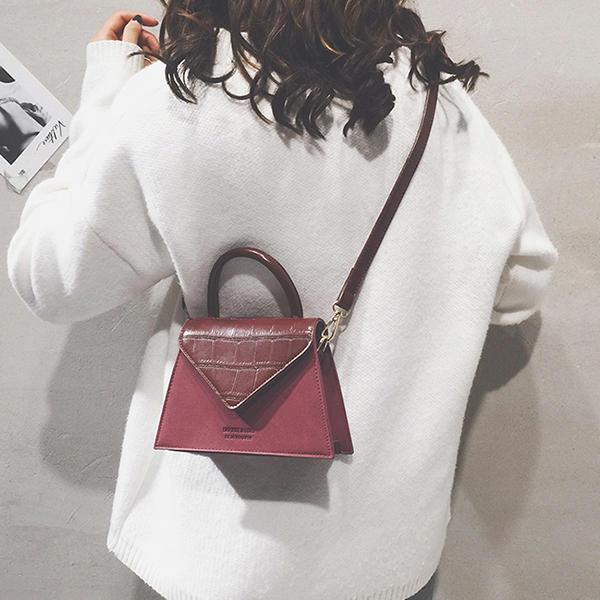 Mulheres Vintage Matte Color Scrub Bolsa Quadrada PU Leather Flap Crossbody Bag