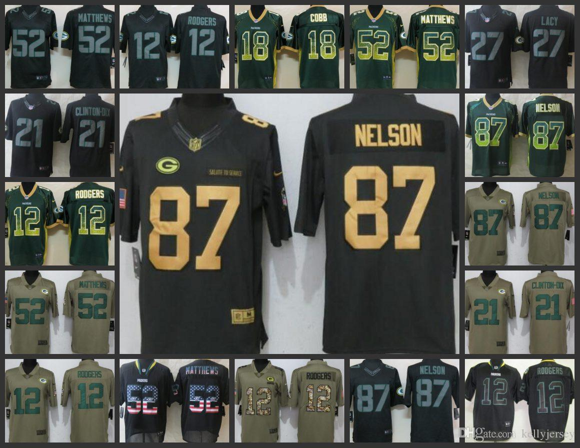 70bc6bee697 2019 Green Bay Football Packers Men Jersey #12 Aaron Rodgers 18 Randall  Cobb 52 Clay Matthews 87 Jordy Nelson Women Youth Embroidery Jerseys From  ...
