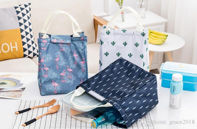 852878d49273 picnic outdoor bag Lunch Bags cactus Printed Canvas Fabric with Insulated  Waterproof Aluminum Foil, Lunch Box for Women, Kids, Students