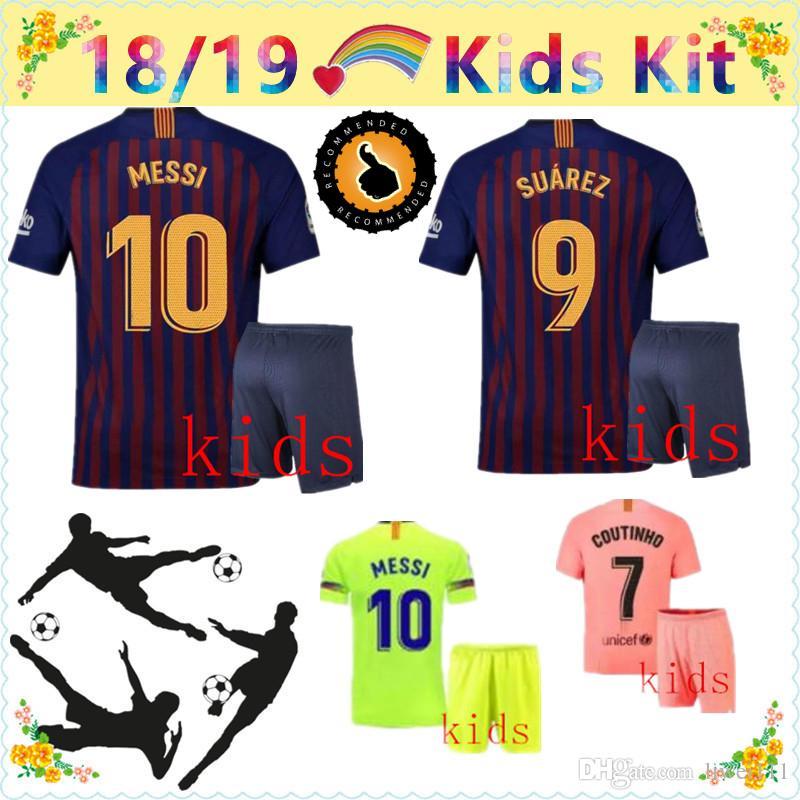check out a0aac 41155 18 19 messi jersey kids kit barcelona jersey 2018 2019 ARTHUR COUTINHO  SUAREZ suarezcamisa de futebol VIDAL dembele maillot de foot