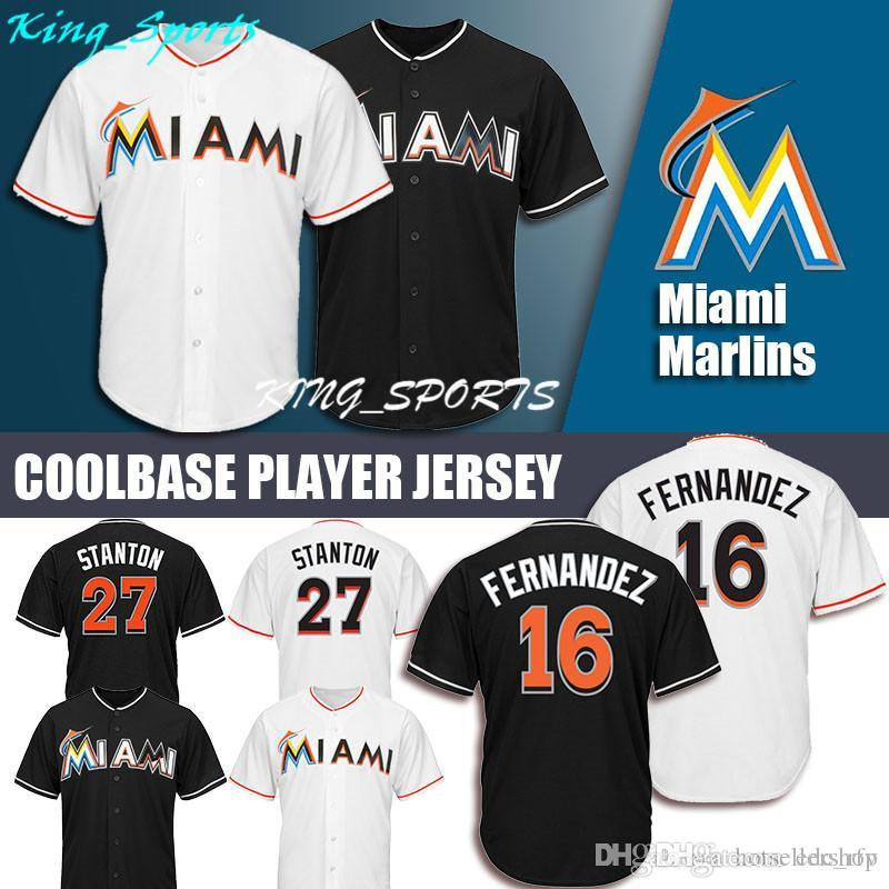 a38b3aa29bf ... closeout 2019 miami marlins majestic coolbase jersey 27 giancarlo  stanton jersey 16 jose fernandez jersey from