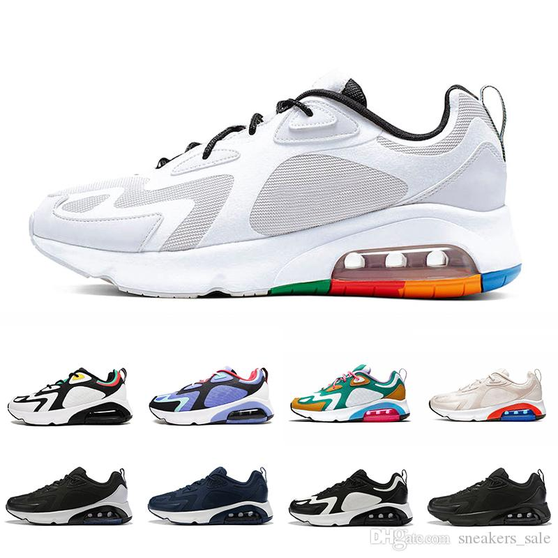 Nike air max 200 airmax 200 shoes 2019 White Black 200 Mens Running Shoes 200s Bordeaux Blue Desert Sand Royal Pulse Mystic Green Vast Grey trainers