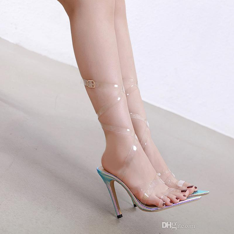 Plus size 35 to 40 41 42 bridal wedding shoes pointed toe cross strap transparent clear high heels designer shoes