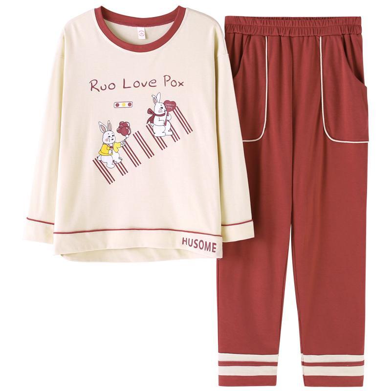 83d10d82e Compre Pijamas Set Mulheres Algodão De Manga Longa T Shirt Calças Conjunto Pijamas  Feminino Primavera Outono Sleepwear Camisola Pijama Femme Homewear De ...