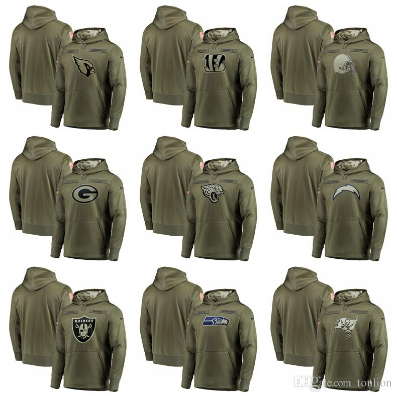 meet f8efc 22258 New 2019 SWEATER Hot Raiders Cardinals Bengals Jaguars Chargers Buccaneers  Olive Salute to Service Sideline Therma Performance Pullover Hood