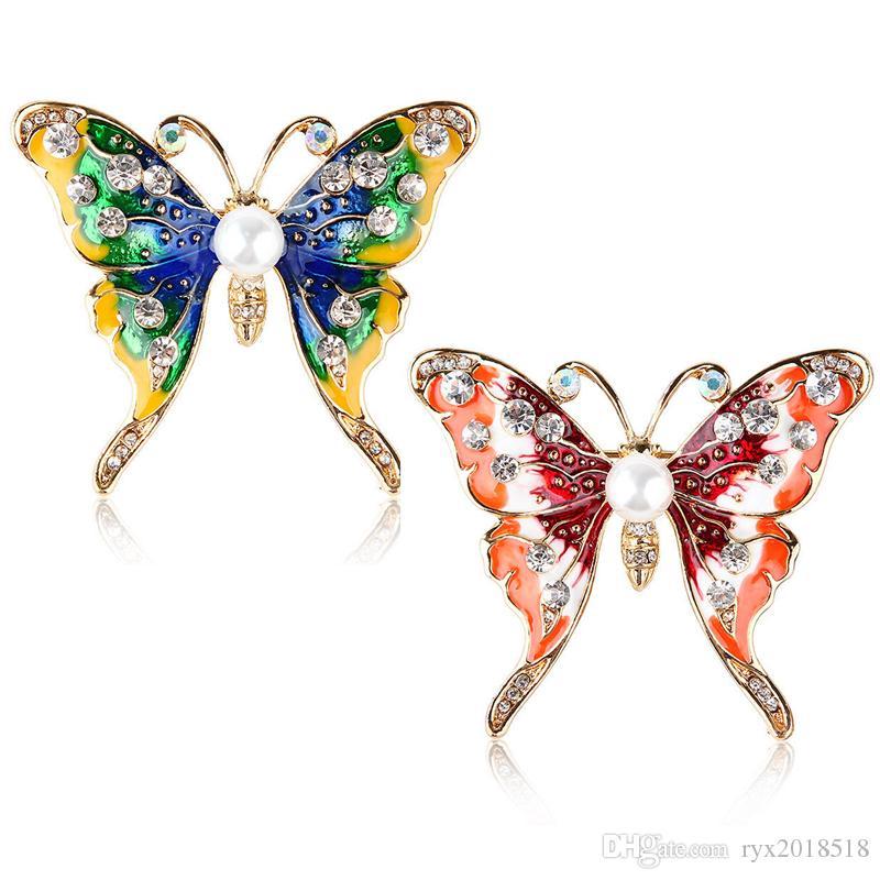 a31d4252d459 Compre Esmalte Colorido Broches De La Mariposa Chapado En Oro Rhinestone  Perla Insecto Broche Pins Joyería De Moda Regalos Para Mujeres Dos Colores  A  3.51 ...