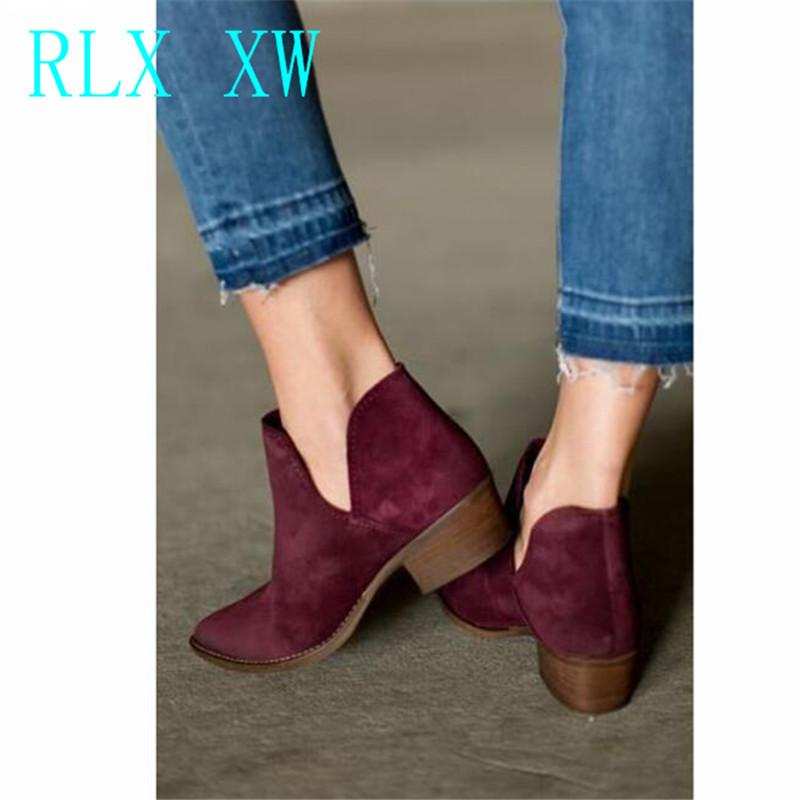 19bd0fb5 Flock Women Boots V Shape Slip-on Ankle Boots Pointed Toe Low Heel Shoes  Autumn XWN1367-45