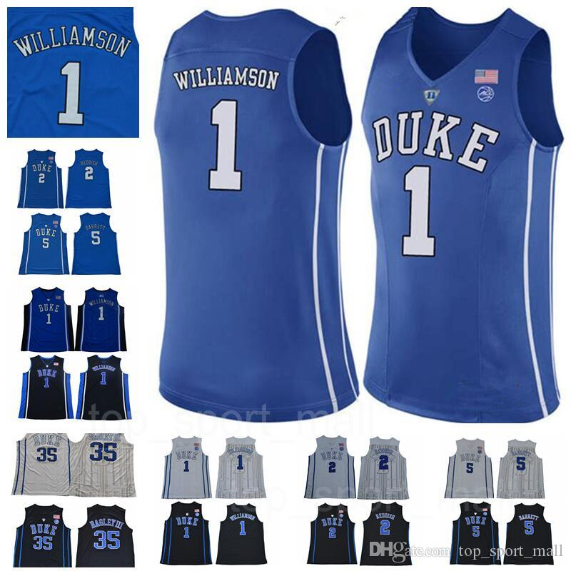 e580bb544c65 2019 NCAA Duke Blue Devils 1 Zion Williamson Jersey 5 RJ Barrett 2 Cam  Reddish University Blue Black White College Basketball Jerseys Stitched  From ...