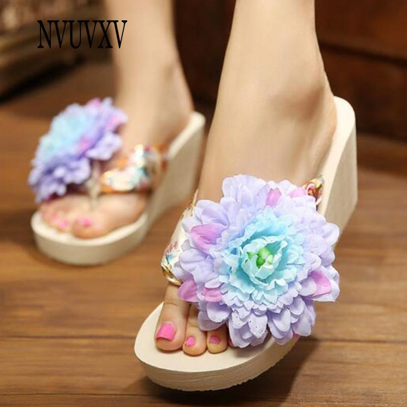 8cb209096 Korean Version Slippers Thick Bottom Non Slip Sandals Seaside Holiday Beach  Shoes Flowers Flip Flops Summer Women S Shoes Sh533 Work Boots Wide Calf  Boots ...