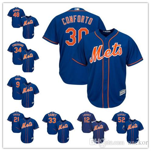 c90b9e411 New York 34 Noah Syndergaard 30 Michael Conforto 17 Keith Hernandez Mets  Majestic Official Cool Base Player Baseball Jersey Online with  29.59 Piece  on ...