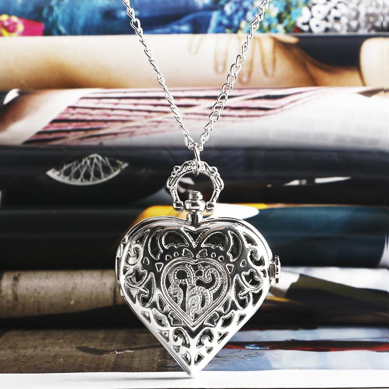 endant double Fashion Silver Heart Shaped Lovely Hollow Elegant Quartz Pocket Watch Necklace Pendant for Women Ladies girl Birthday Gift ...
