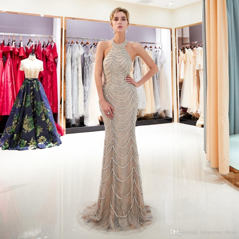 baf69e4466 Beaded Prom Dresses 2019 Walk Beside You Vestidos De Prom Largos 2019  Halter Sleeveless Mermaid Crystal Sweep Train Lace Tulle Goth Prom Dresses  Long Gowns ...