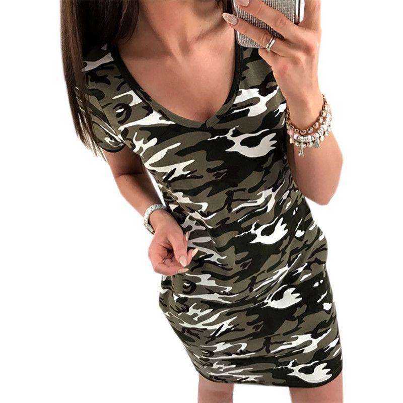 b5a30c529df2d 2019 Women Camouflage Print Dress Sexy V-Neck Bodycon Mini Dress Casual  Short Sleeve Beach Sundress Slim Party Dresses Vestidos