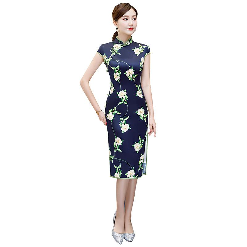 2019 Summer New Chinese Style Dress Vintage Oriental Ladies Knee Length Qipao Classic Stage Show Elegant Female Cheongsam M-3XL