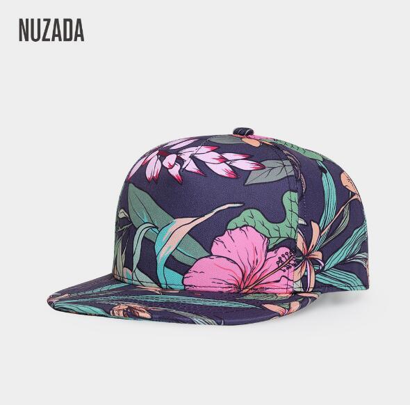 NUZADA Men Women Baseball Cap Snapback Printing Flowers Couple Hats ... a64ecc26fa27