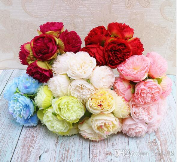 Five hand-picked peony flowers simulate high-end short pole brides holding flowers for wedding decoration at home W932