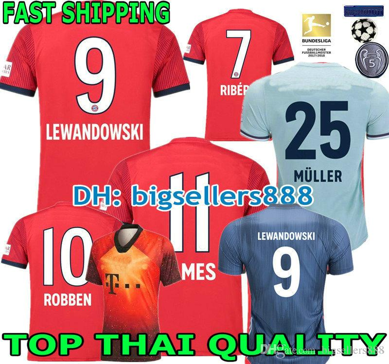 47404326d83e3 MULLER 18 19 LEWANDOWSKI JAMES Jersey Home Red Camiseta De Fútbol De  Visitante HUMMELS NEUER ROBBEN RIBERY MUNICH THIAGO 2018 2019 3ª Camiseta  De Fútbol Por ...