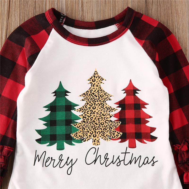 Natal da criança Kid Baby Girl Xmas Imprimir Clothes Set manta Ruffle Top manga comprida T-shirt calças roupa Primavera 6M-5Y