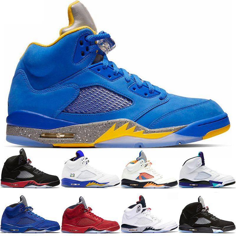 best service 29b5d 980d9 Laney 5s Men Basketball Shoes 5 Bred International Flight Blue Red Suede  White Cement OG Metallic Black Designer Sport Sneaker Size 41 47 Shaq Shoes  Kd ...