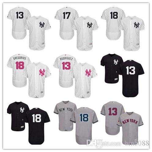 half off 1c315 8f0db Men's Majestic New York Yankees #17 Matt Holliday 18 Didi Gregorius 13 Alex  Rodrigu Replica White Gray black Home Authentic Baseball Jersey