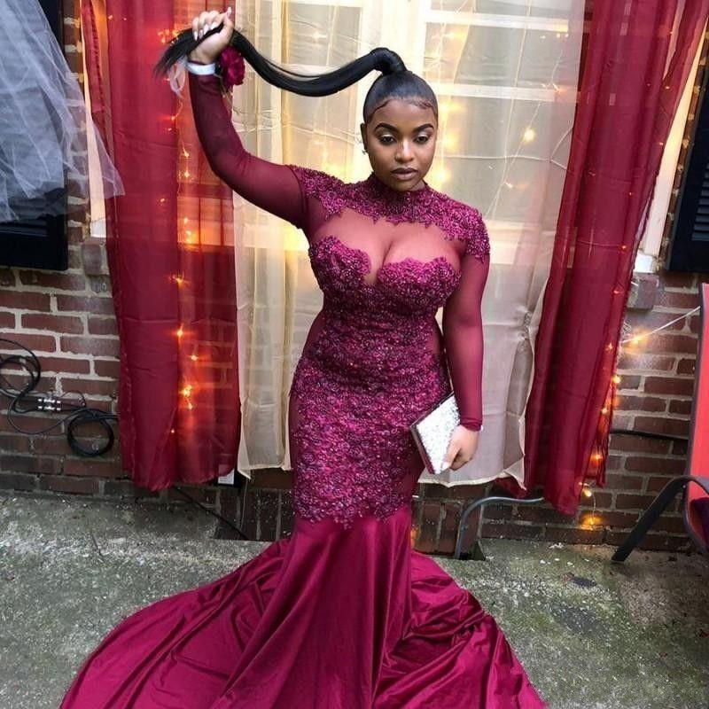 f47962f4d5e71 2019 New Arrival High Neck Evening Dresses Lace Appliques Beaded ...