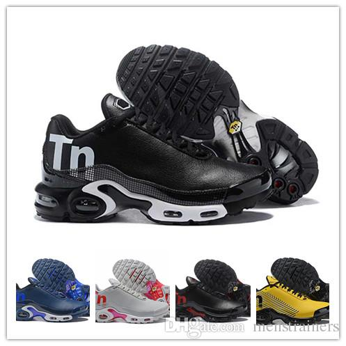 San Francisco 9dd96 b6192 Hot sale leather Mercurial Tn Chaussures homme tns plus Outdoor Sport  Running Shoes Retro Black white Mens Breathable sneakers