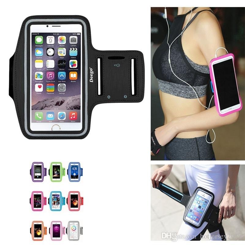 brand new aed76 a6e75 2018 New Running Bags Men Women Armbands Touch Screen Cell Phone Arms Band  Phone Case Sports Accessories for 7 Plus Smartphone #29212