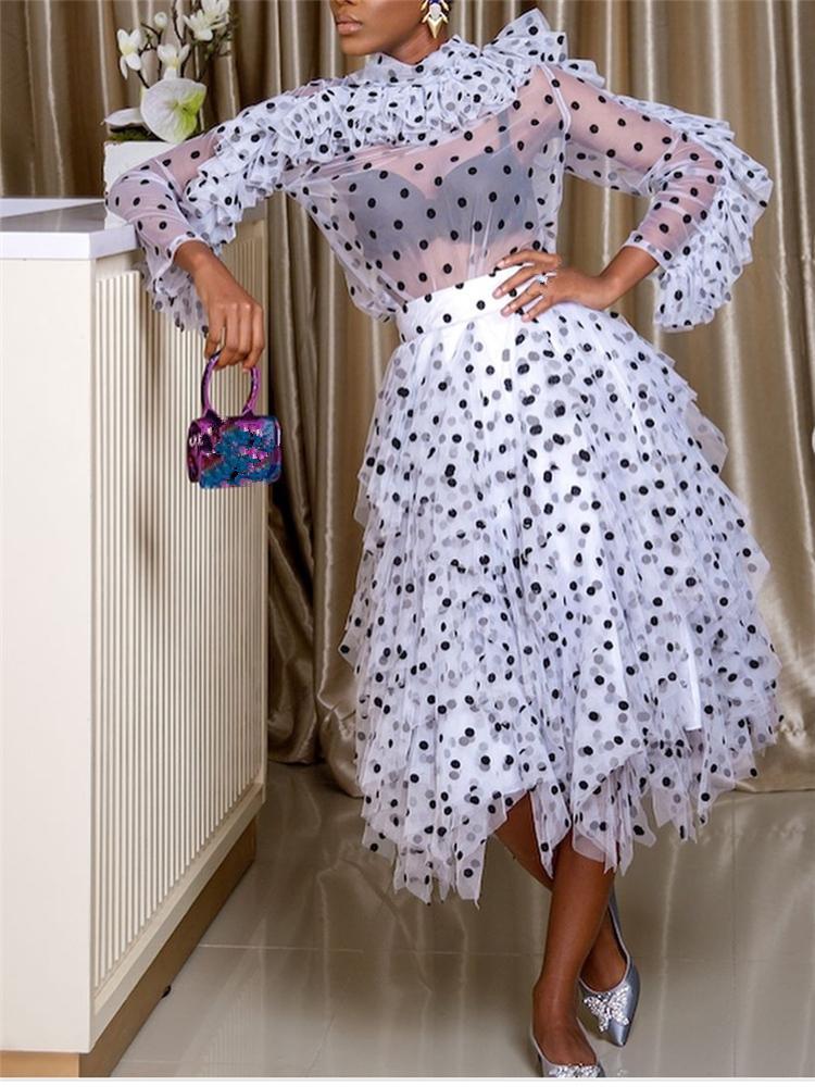 a9b750049 2 Unidades Conjuntos de Mujer Blusa Faldas Trajes de Lunares Ruffles  Delgadas Camisas Transparentes Elegante Tutu Jupes Señora Moda Verano  Primavera ...