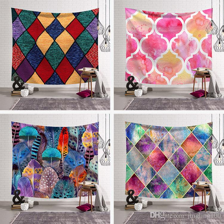 Color Lattice Series Tapestry Hanging Wall background Cloth Polyester Wall Decor Cloth Table Cloth Curtain Home Room Decor Cover 150*200