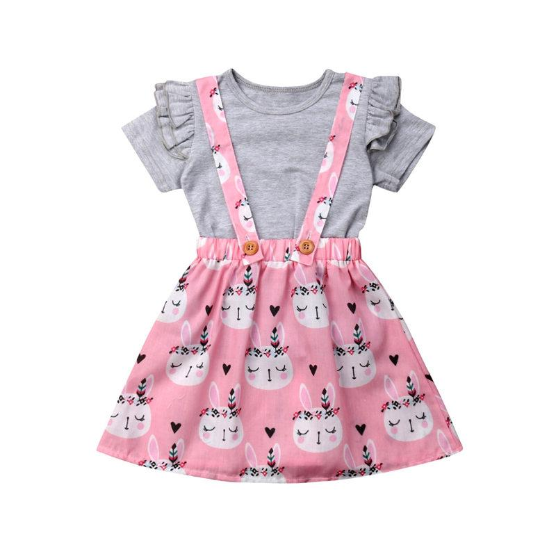 d94e6c81678f0 2019 2019 Baby Girls Clothes Set Summer Kids Easter Bunny Outfit Fly Sleeve  T Shirt+Suspender Dress Toddler Children Set From Sunmye