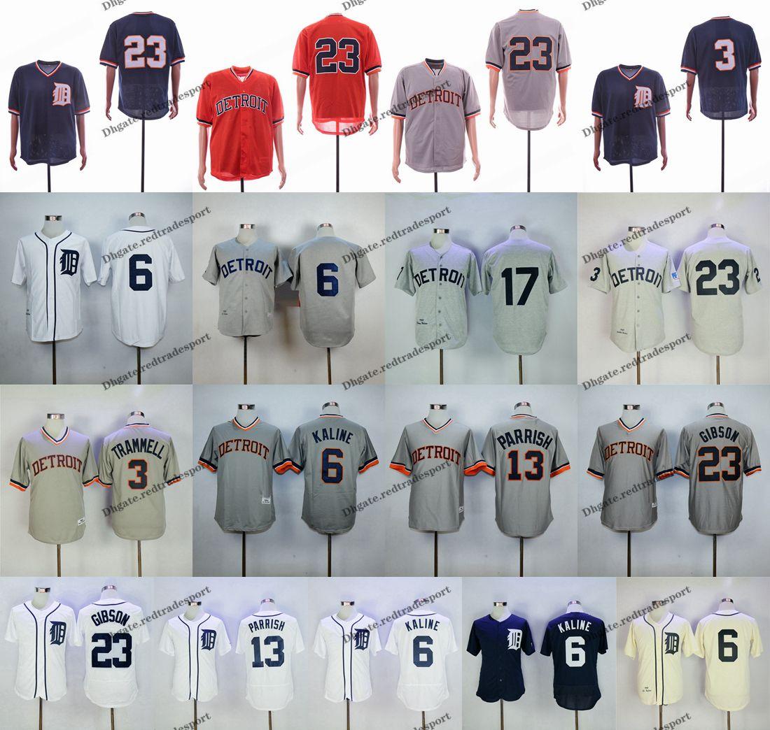 26af71b695b 2019 Vintage Detroit 1968 Mesh BP Tigers 23 Kirk Gibson 100th Patch 6 Al  Kaline 3 Alan Trammell 13 Lance Parrish 17 Denny McClain Baseball Jersey  From ...